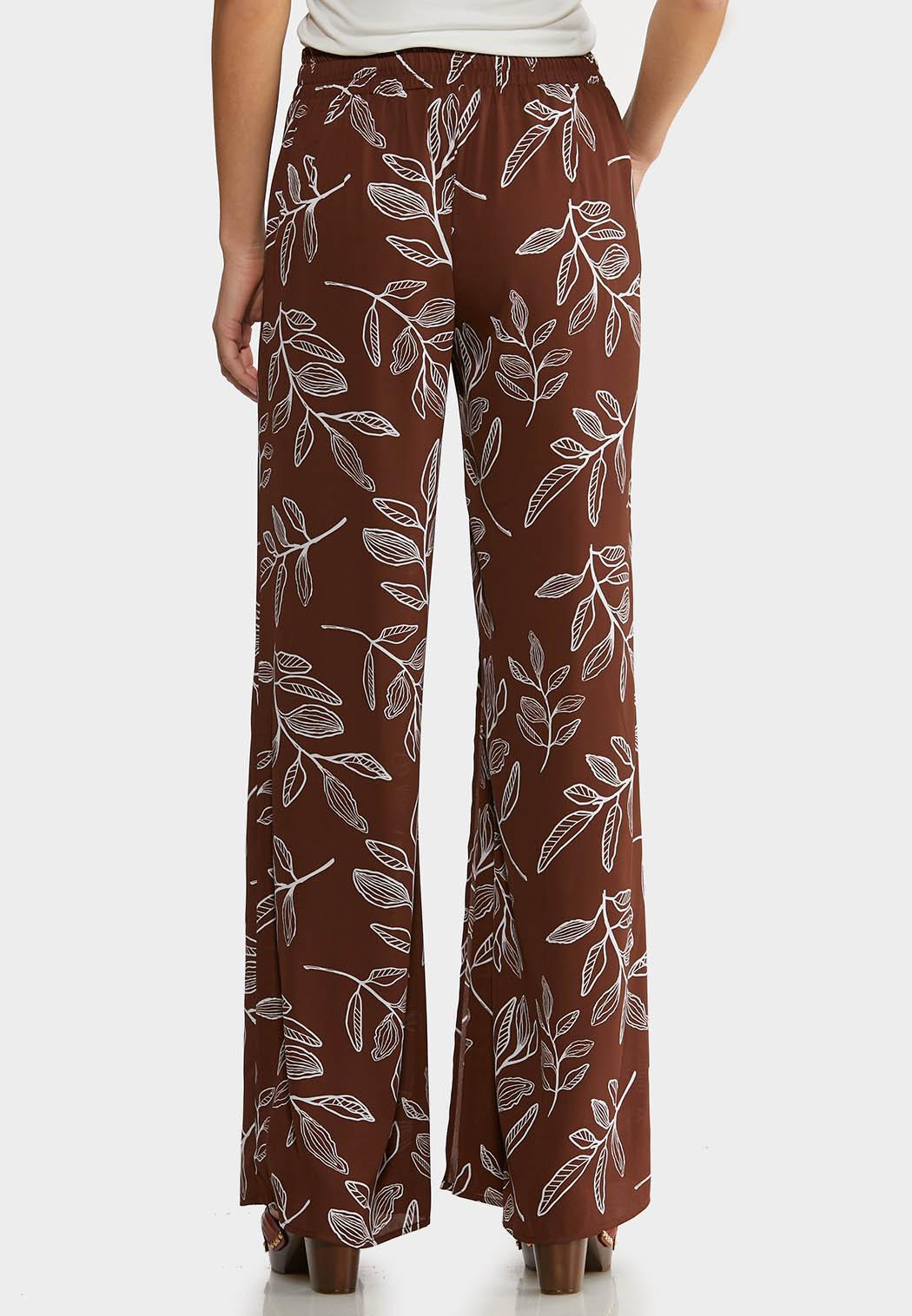 Brown Leaf Palazzo Pants (Item #44233363)