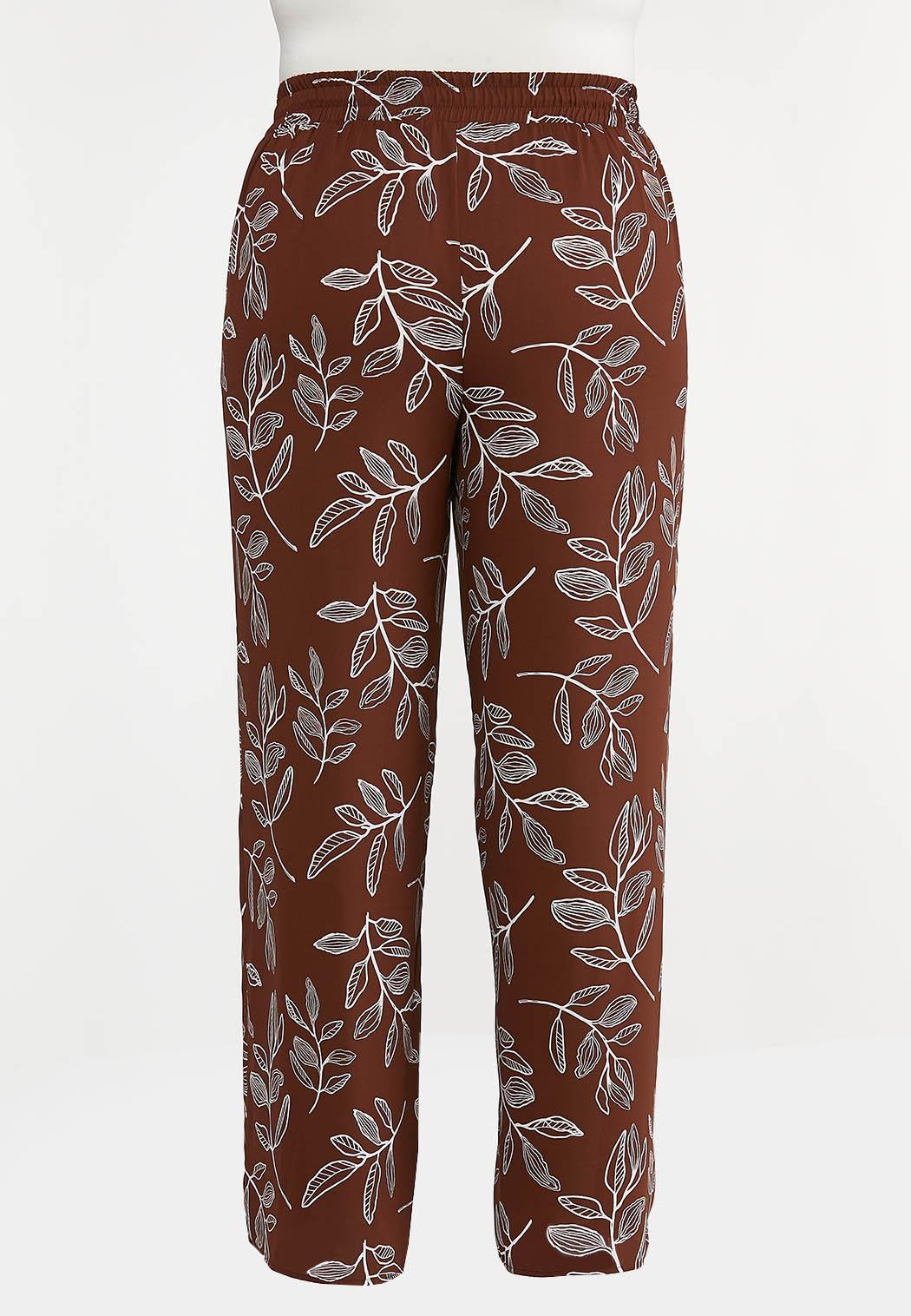 Plus Petite Brown Leaf Palazzo Pants (Item #44233384)