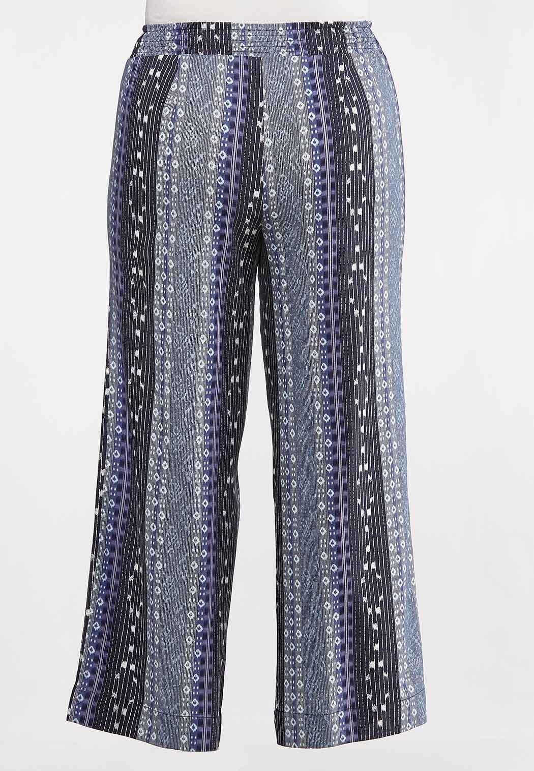Plus Size Geo Linen Pants (Item #44233575)