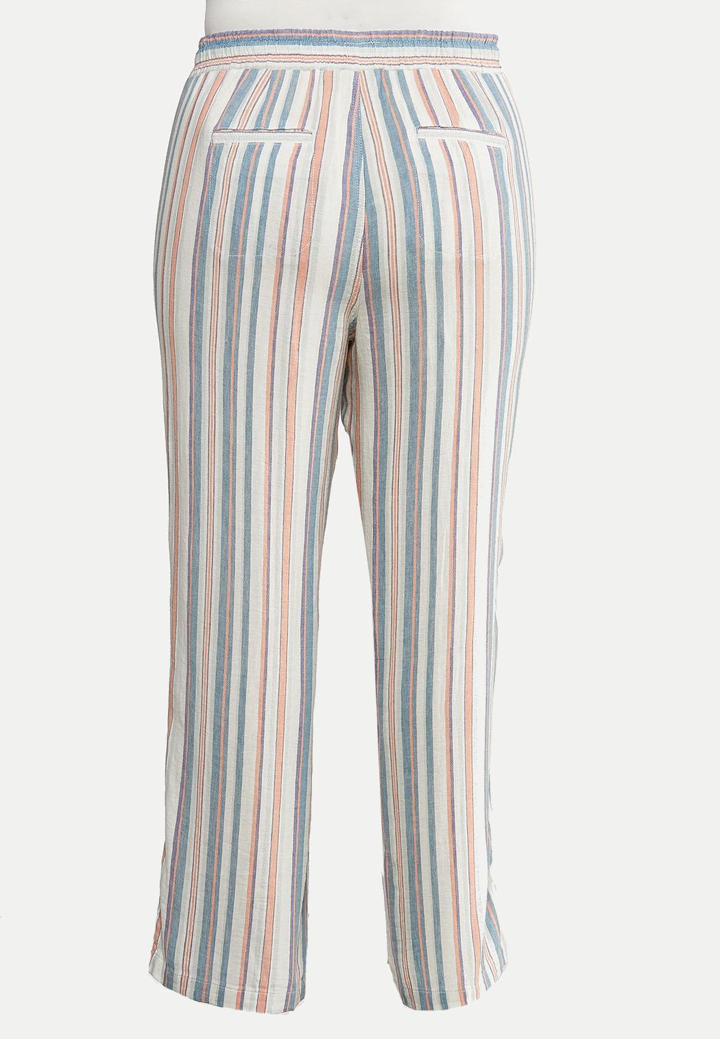 Plus Size Striped Beach Linen Pants (Item #44233641)