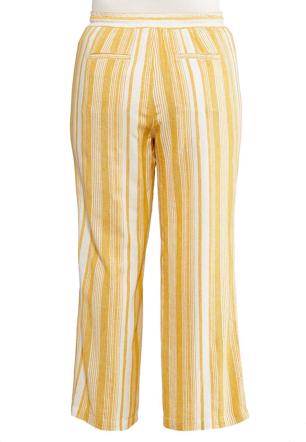 Plus Size Gold Stripe Linen Pants (Item #44233704)