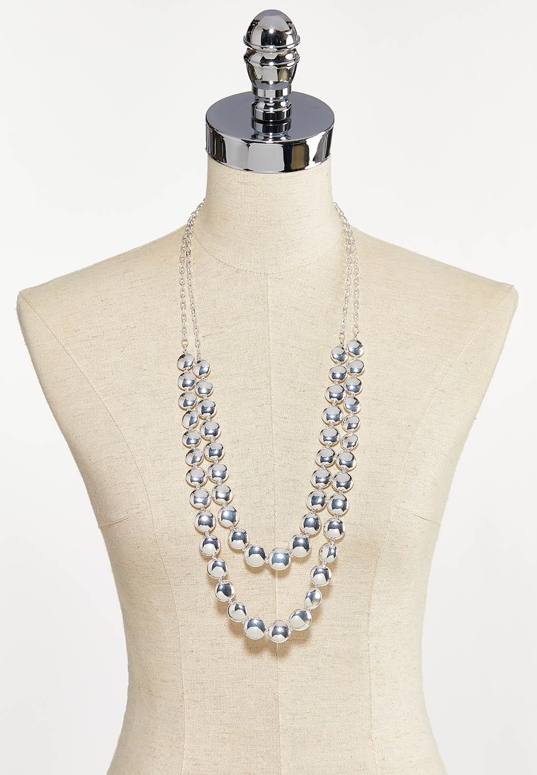 Two-Row Silver Bead Necklace (Item #44233717)