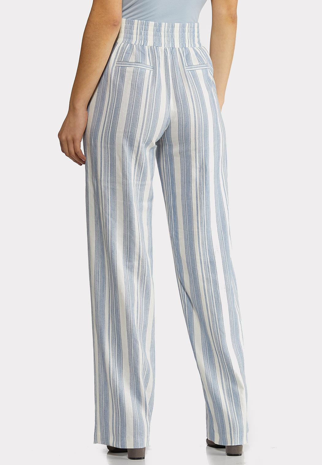 Belted Stripe Linen Pants (Item #44233962)