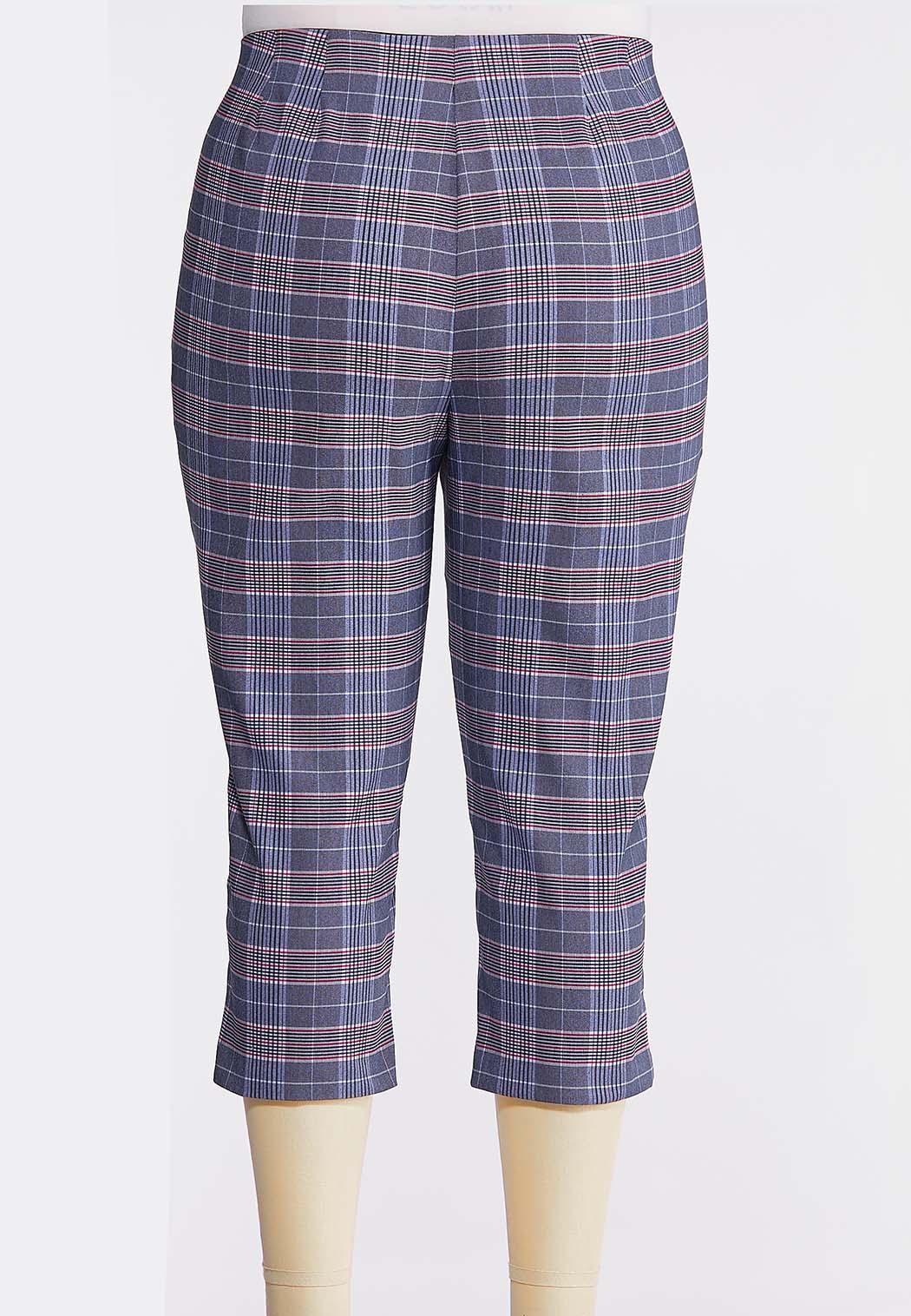 Plus Size Blue Plaid Bengaline Pants (Item #44234328)
