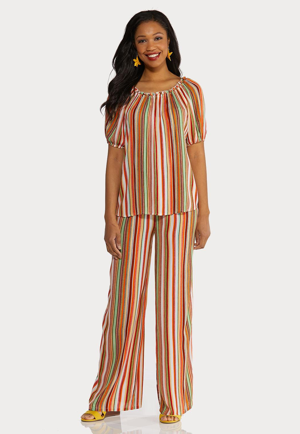 Striped Smocked Palazzo Pants (Item #44235857)