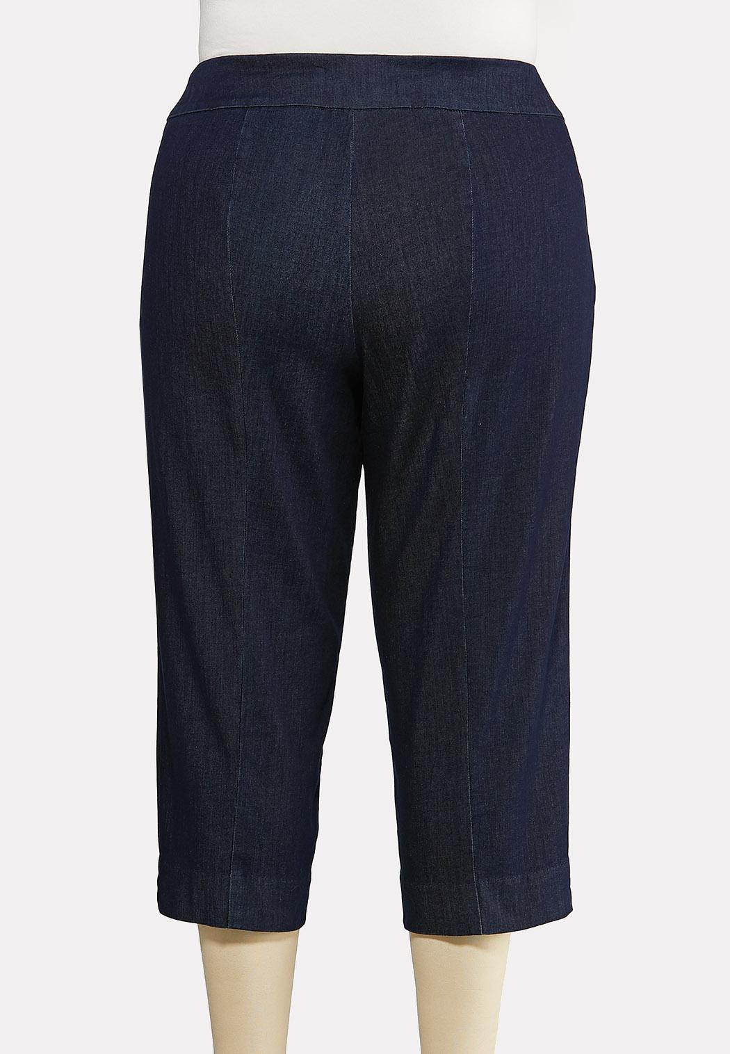 Plus Size Cropped Denim Pants (Item #44237600)