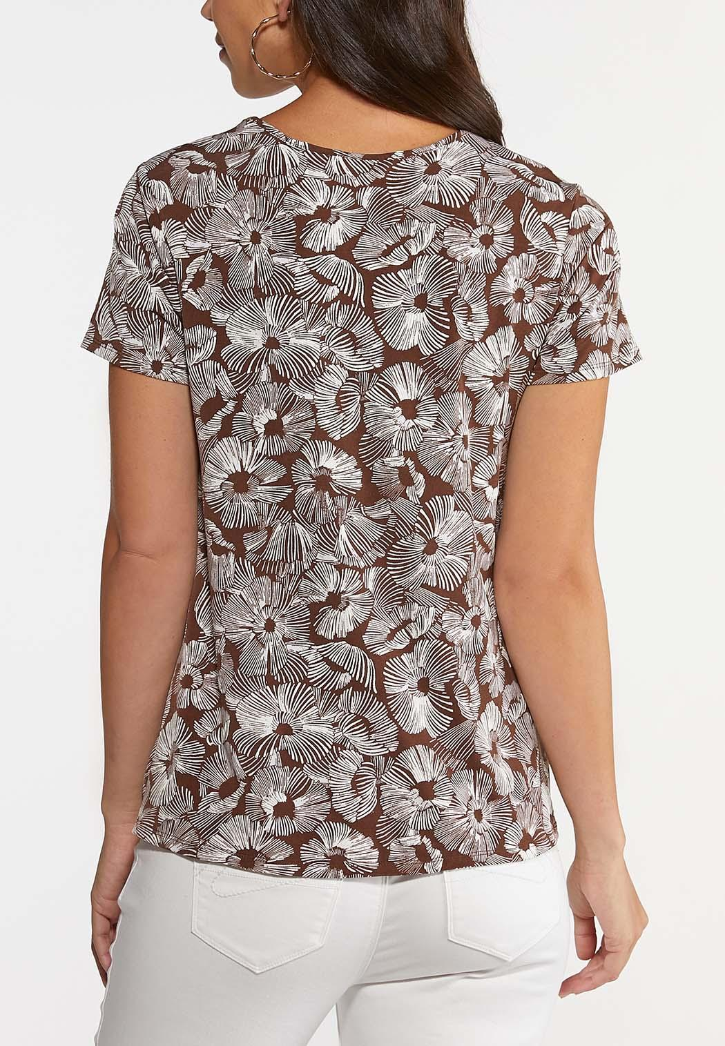 Plus Size Knotted Brown Floral Top (Item #44238136)