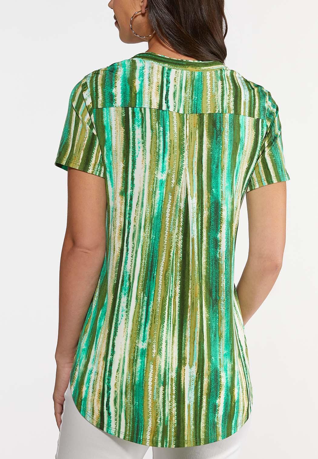 Plus Size Green Stripe Pullover Top (Item #44238671)