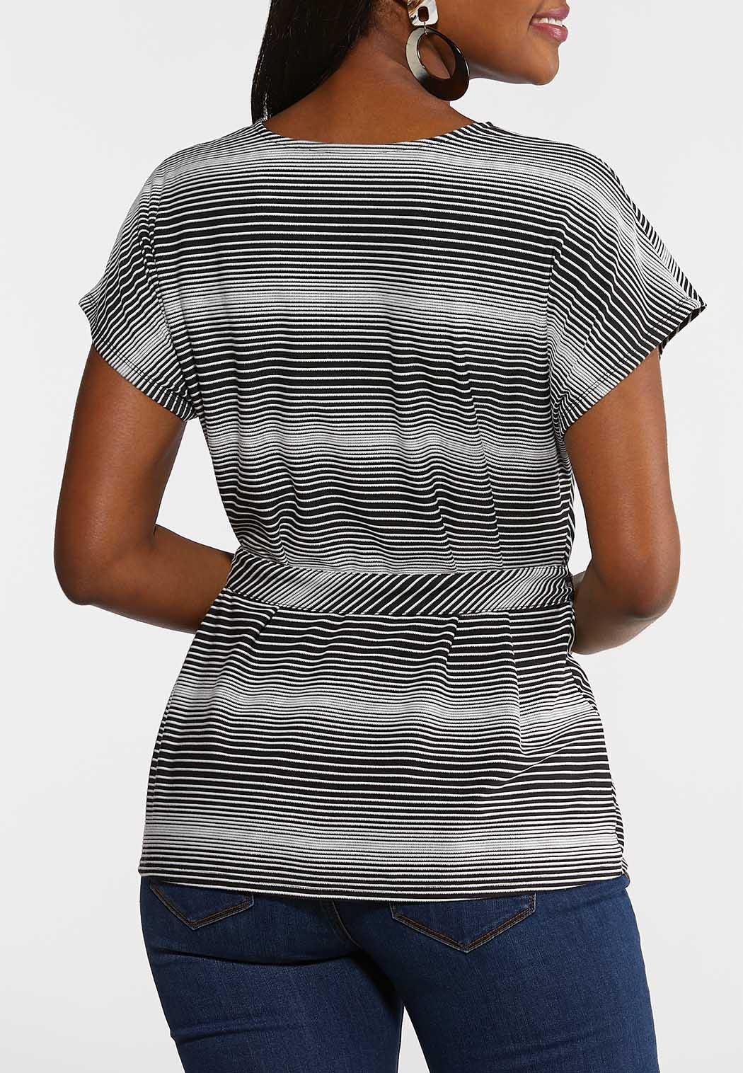 Plus Size Chevron Belted Top (Item #44238707)