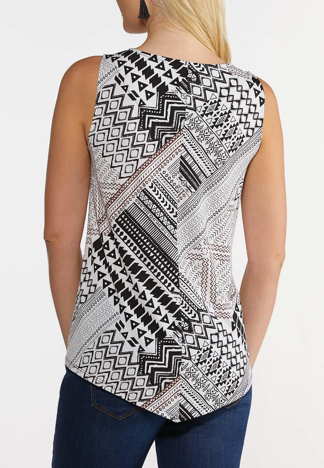Plus Size Black And White Geo Tank (Item #44238786)