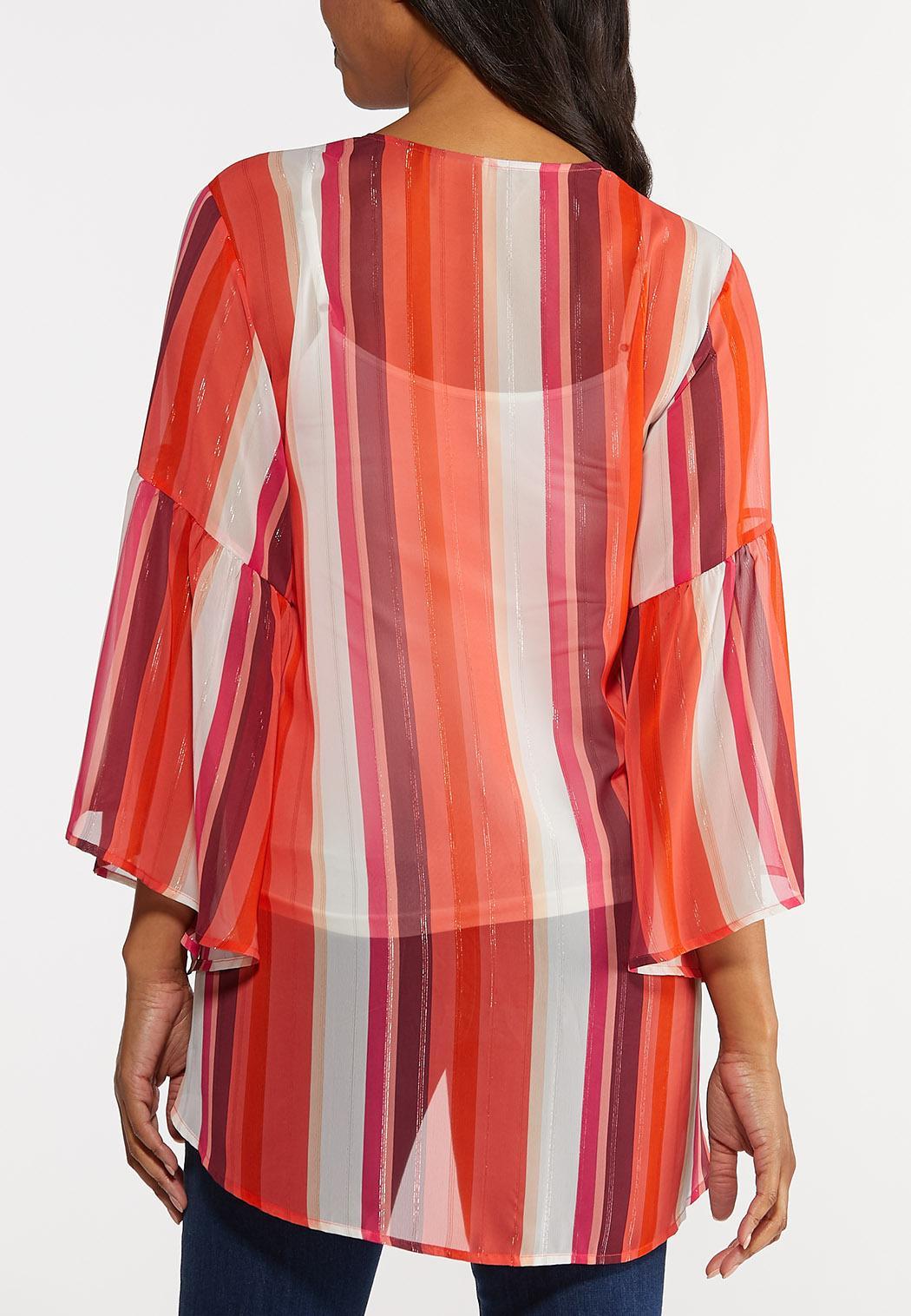 Striped Bell Sleeve Kimono (Item #44239126)