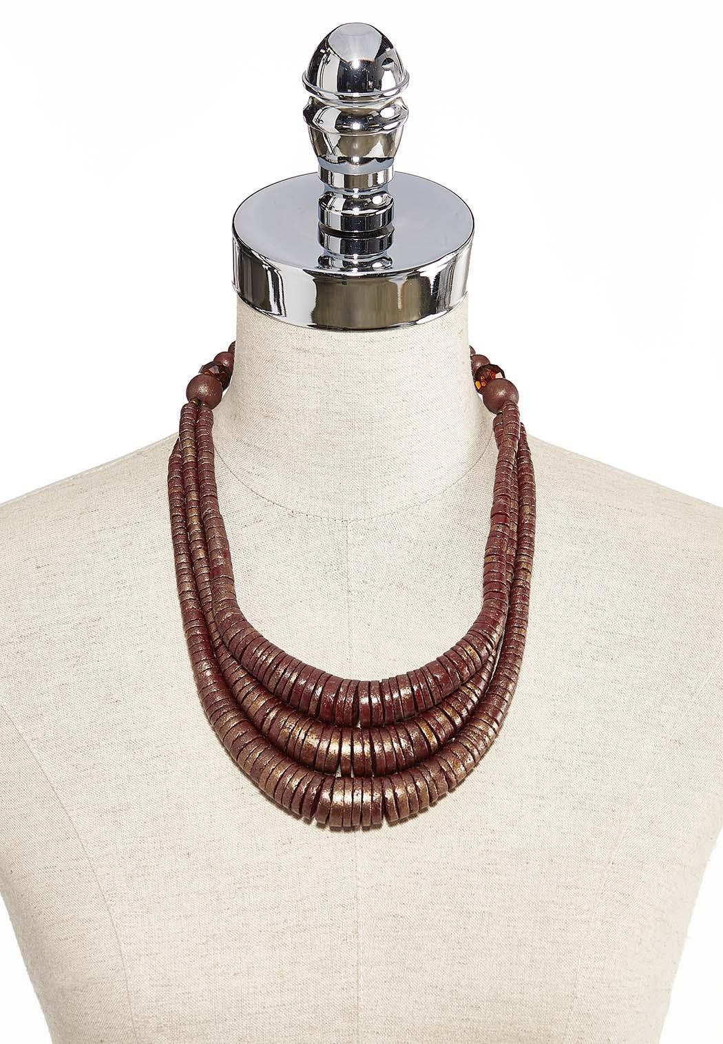Wood Bead Bib Necklace (Item #44239336)