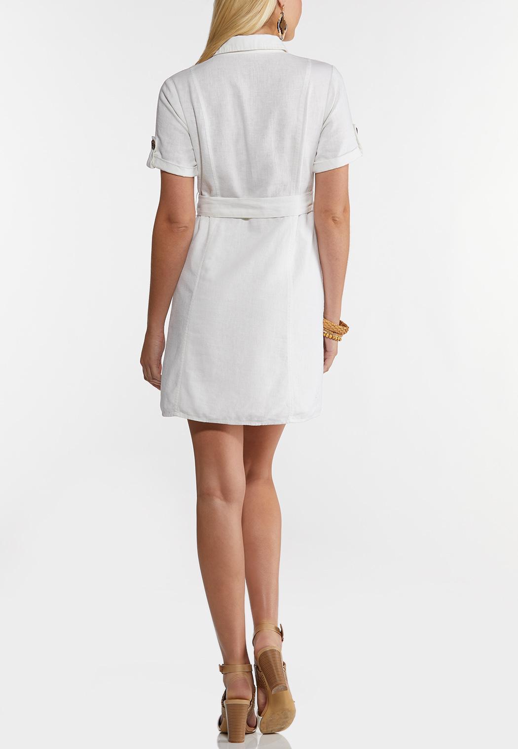 Tie Waist Linen Utility Dress (Item #44239924)