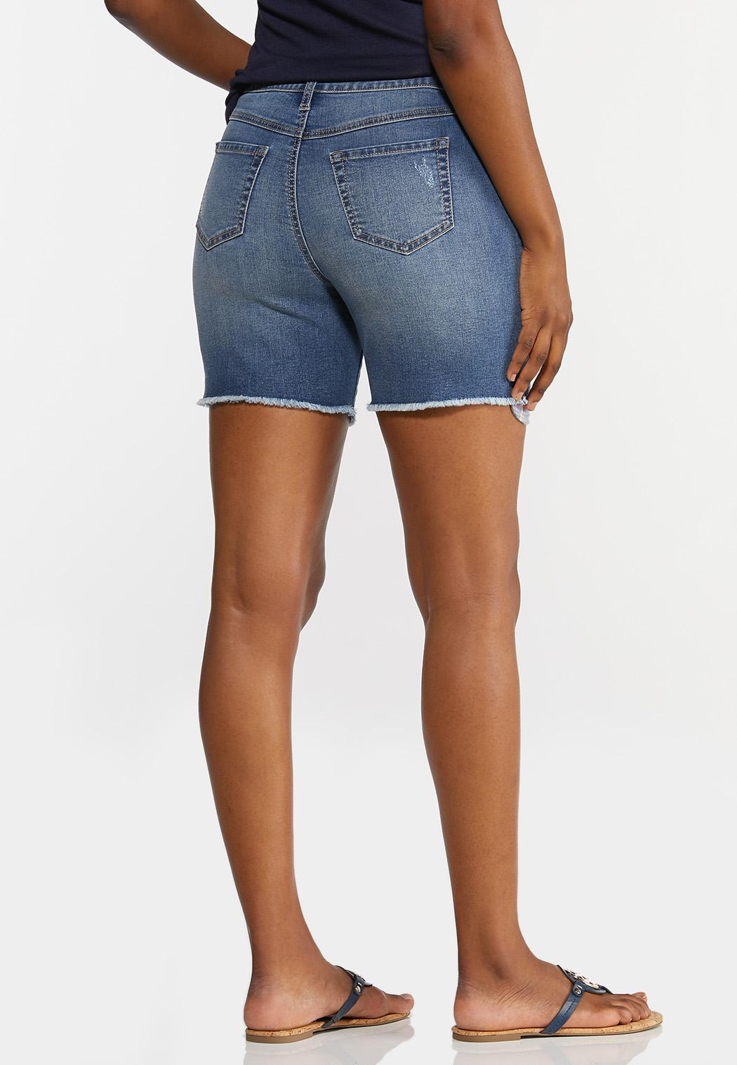 Peek-A-Boo Patchwork Denim Shorts (Item #44240435)