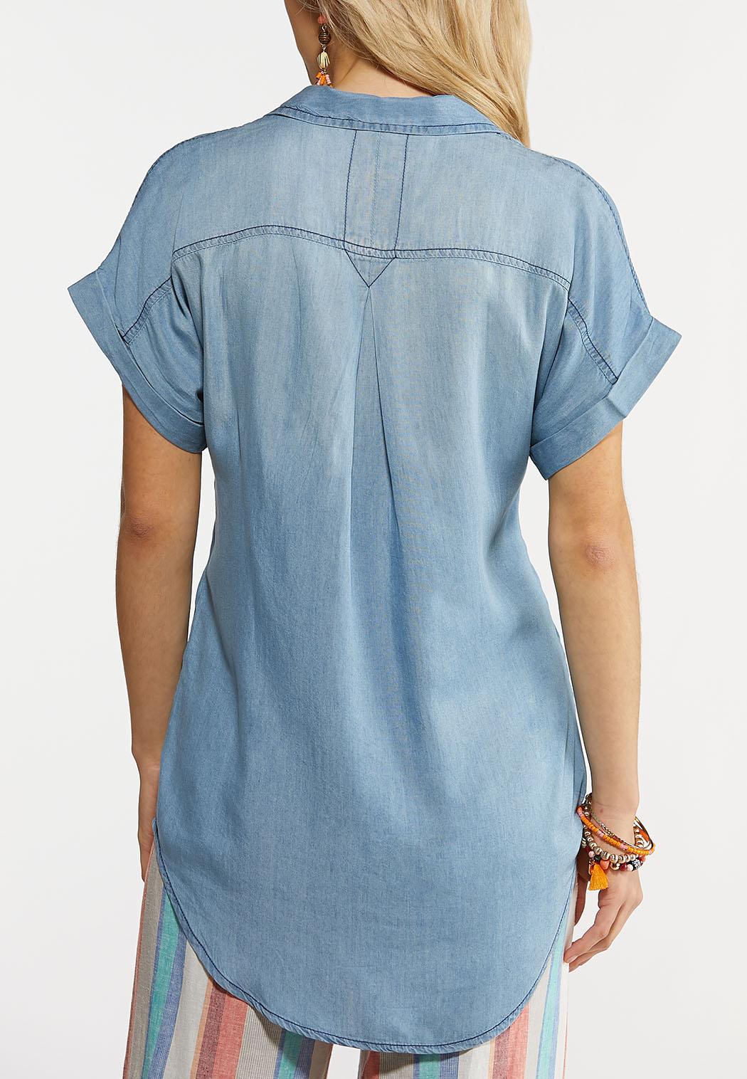 Chambray Cuffed Sleeve Shirt (Item #44240457)