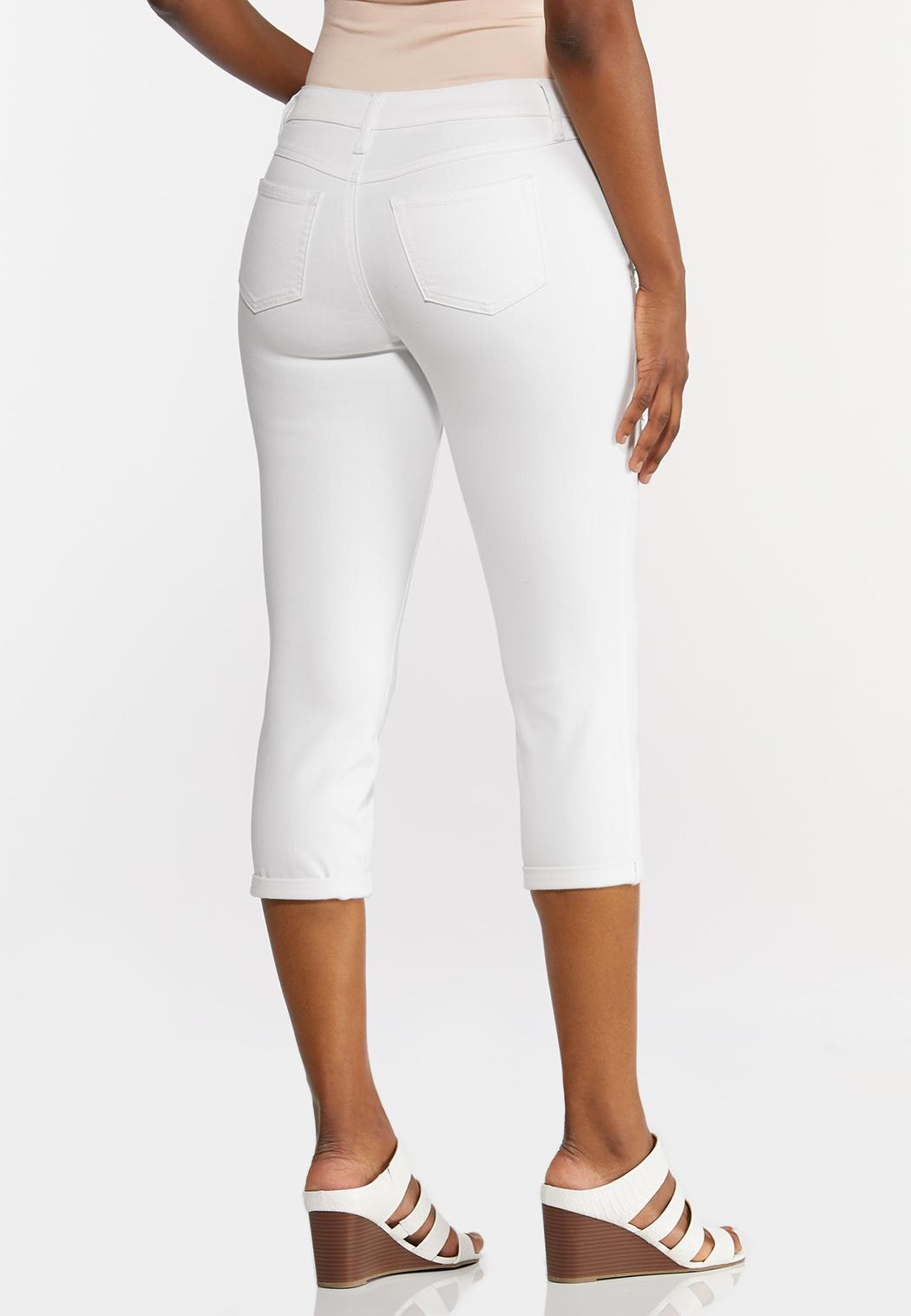 Distressed White Cropped Jeans (Item #44240489)