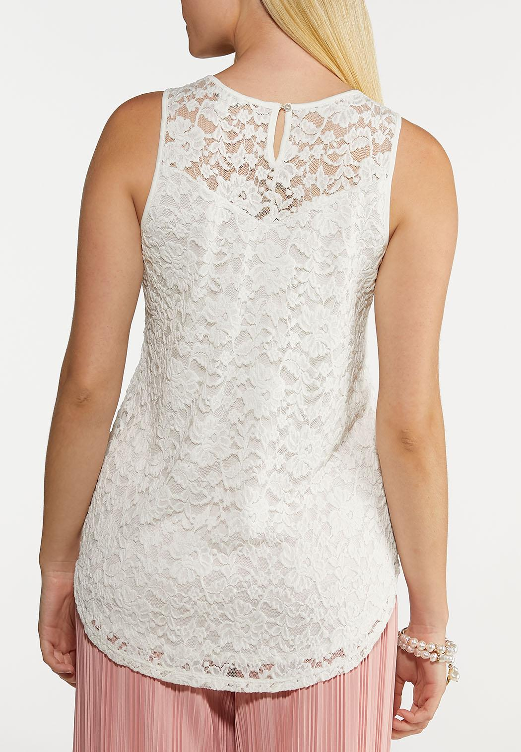 Embroidered Mesh Ivory Tank (Item #44240874)
