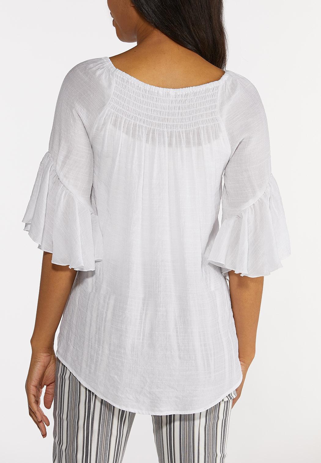 Plus Size White Ruffled Sleeve Top (Item #44240911)
