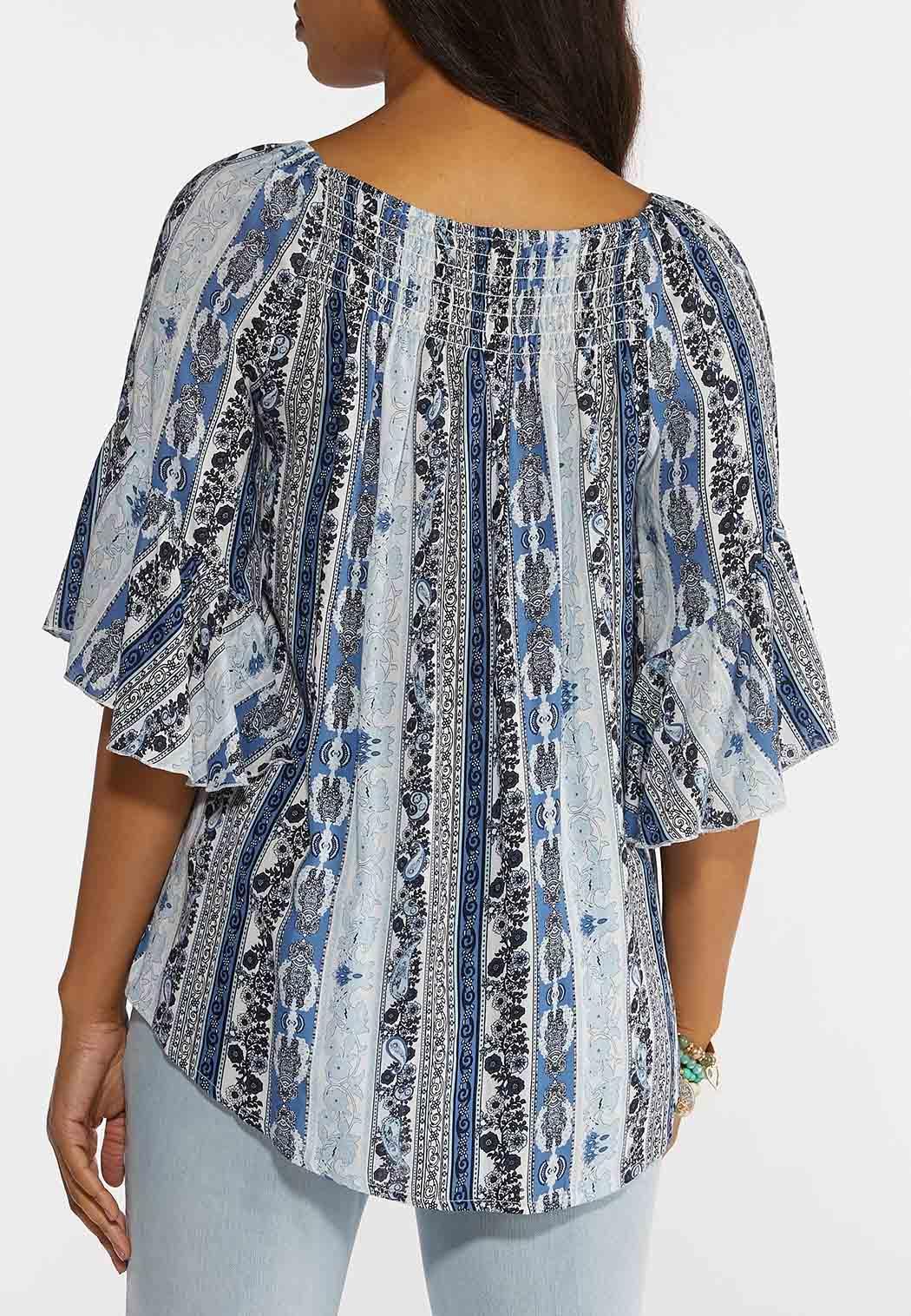 Plus Size Smocked Paisley Blue Top (Item #44241265)