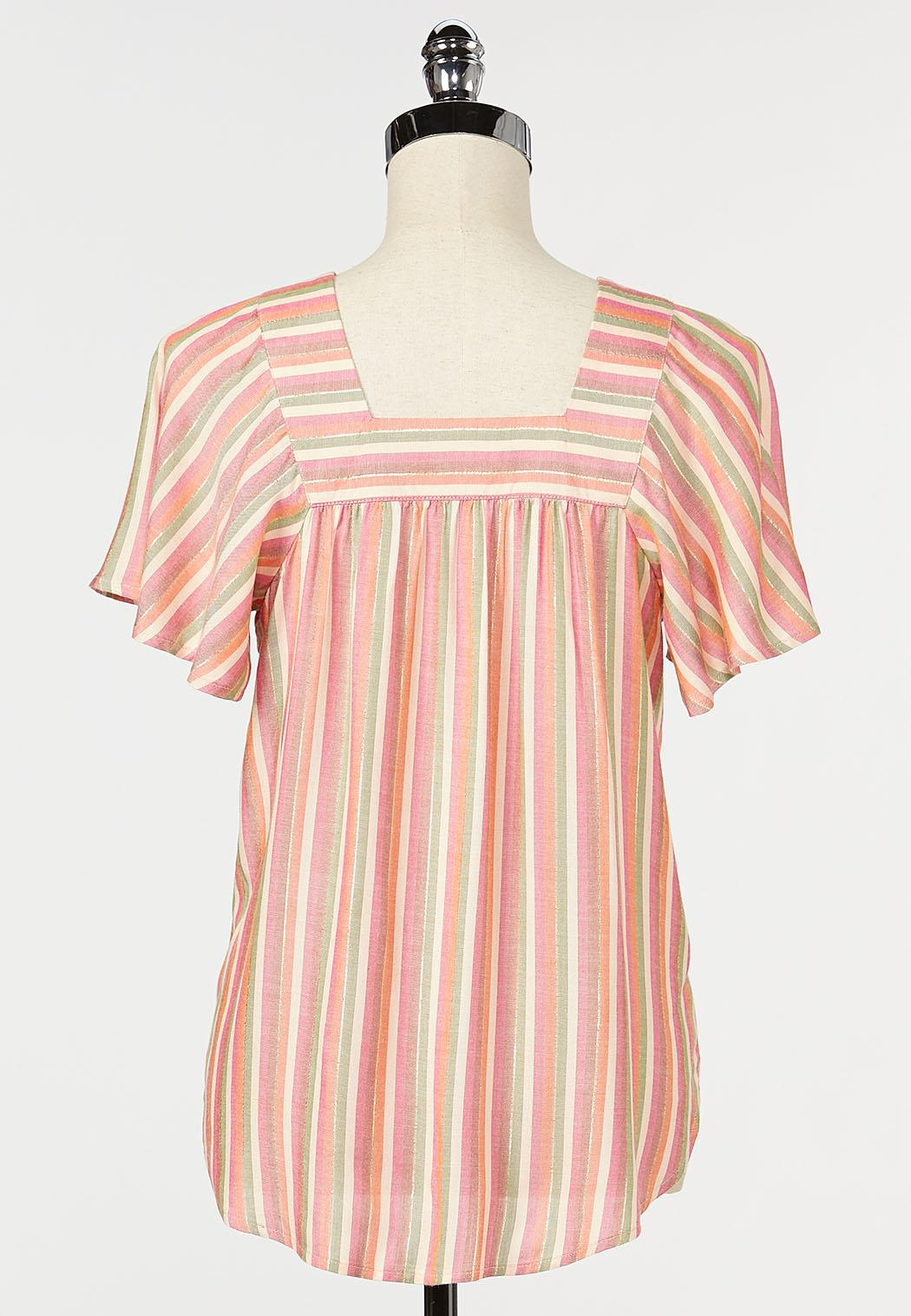 Plus Size Orange Stripe Poet Top (Item #44241325)