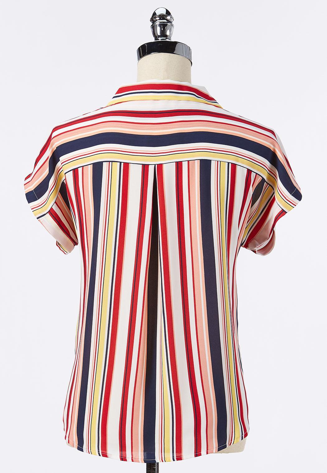 Plus Size Striped Button Tie Front Top (Item #44241499)