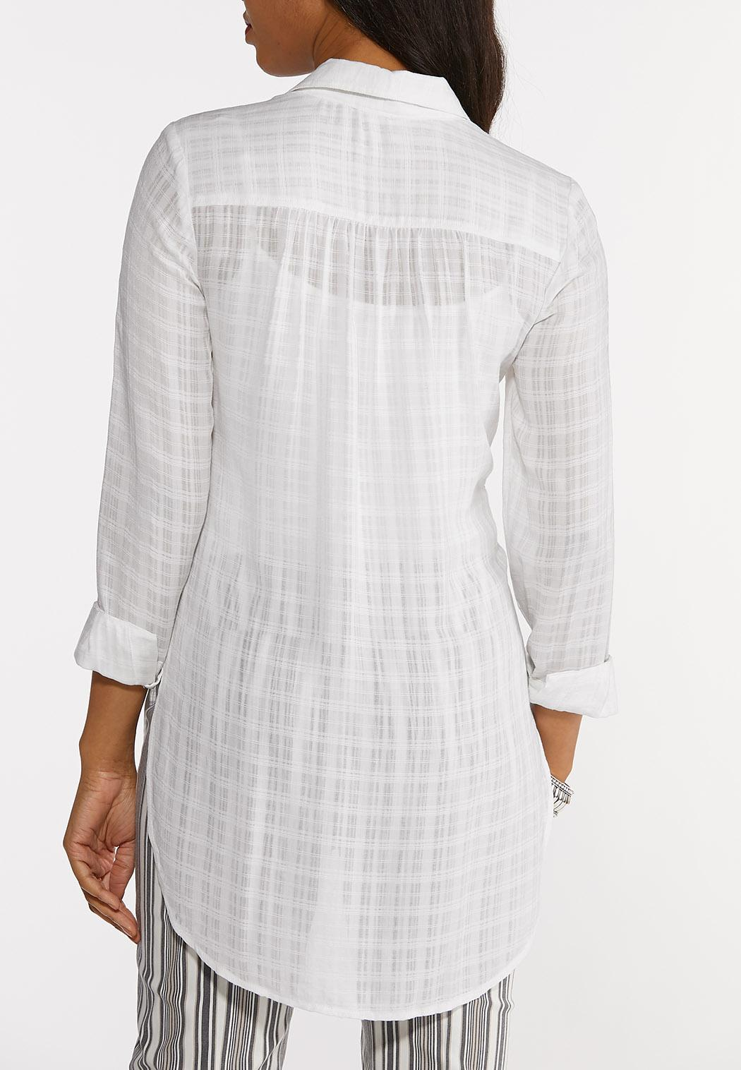 Plus Size Button Down Grid Tunic Top (Item #44241508)