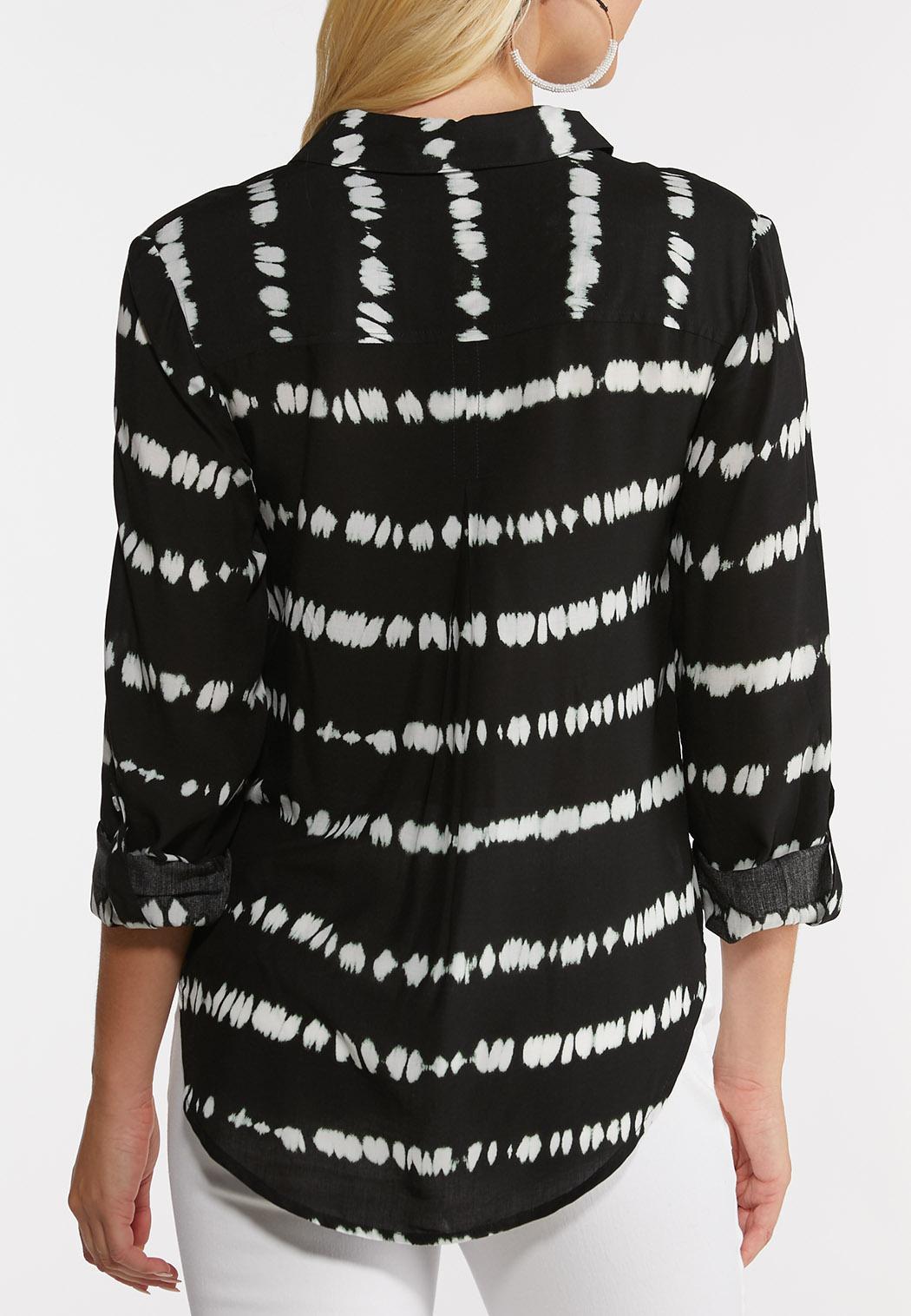 Plus Size Tie Dye Button Down Shirt (Item #44241562)