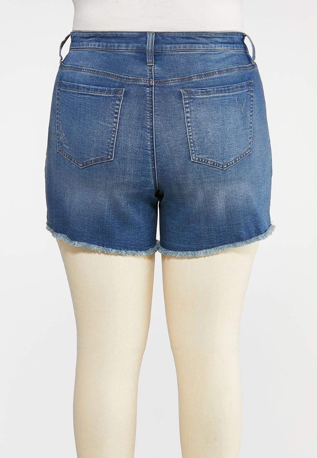 Plus Size Frayed Denim Shorts (Item #44241858)