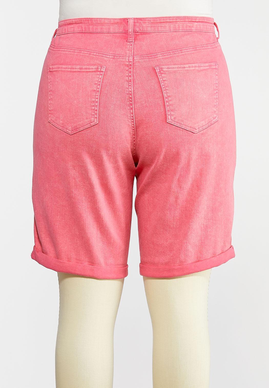 Plus Size Pink Denim Bermuda Shorts (Item #44241909)