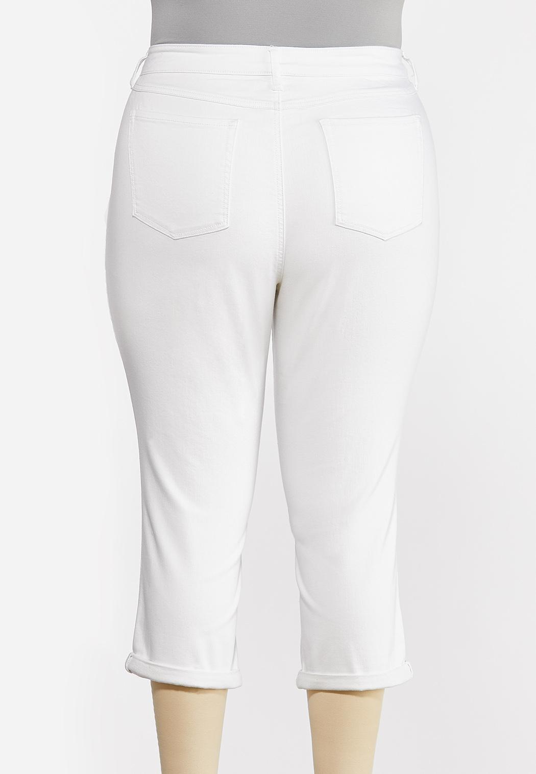 Plus Size Distressed White Cropped Jeans (Item #44242074)