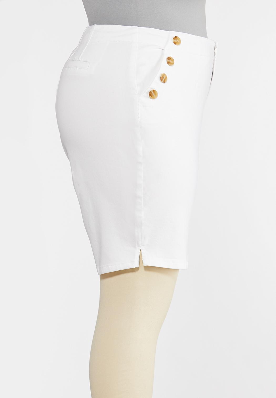 Plus Size White Bermuda Shorts (Item #44243321)