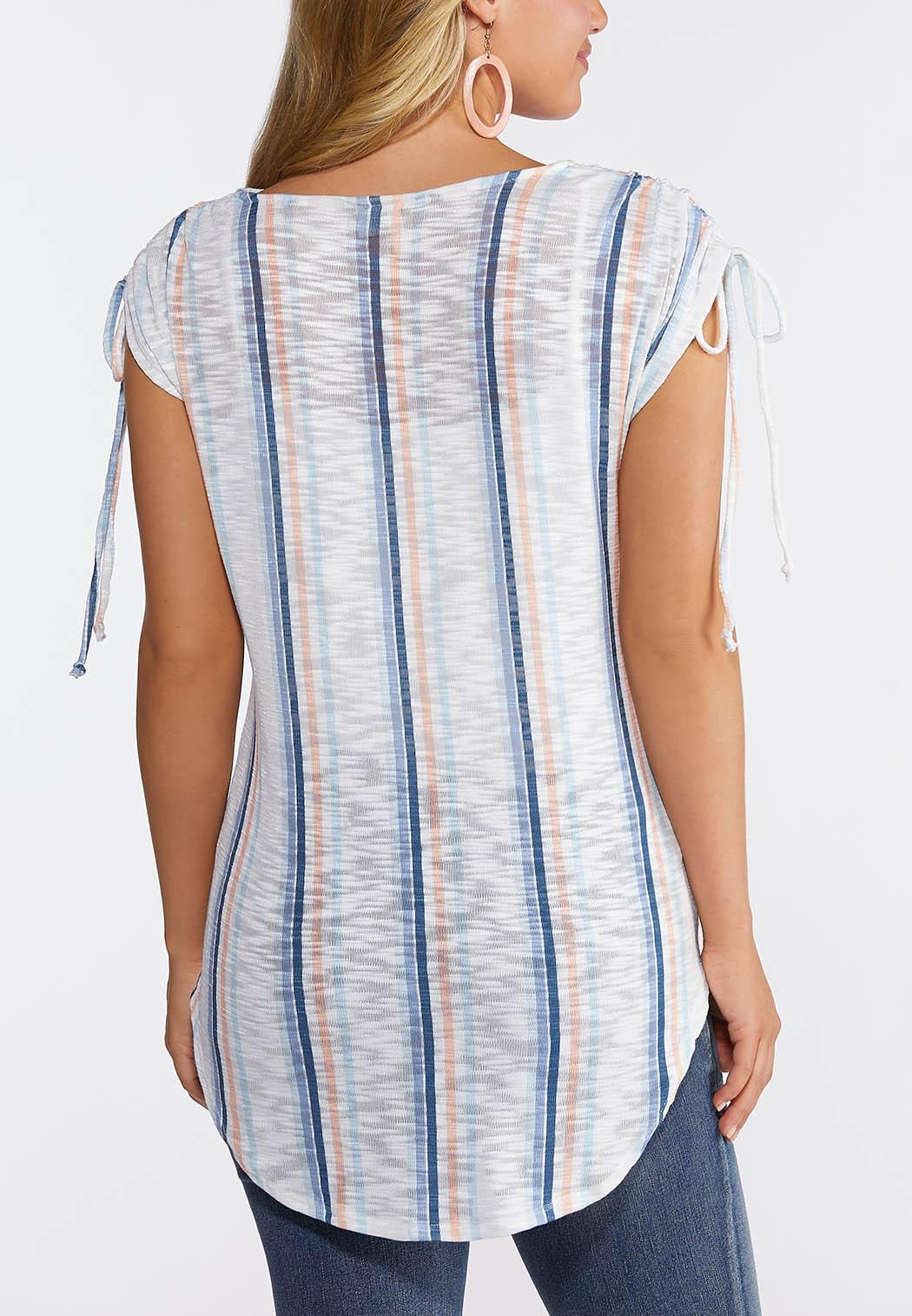 Plus Size Mitered Stripe Tie Front Top (Item #44243376)