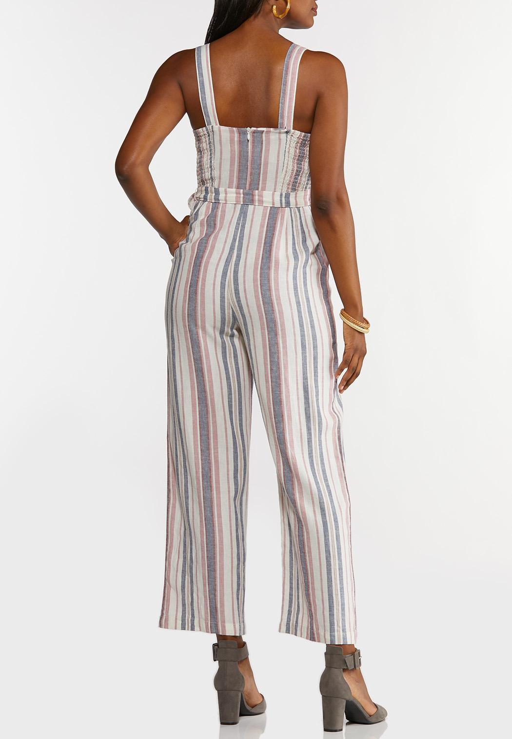 Plus Size Striped Linen Jumpsuit (Item #44243899)
