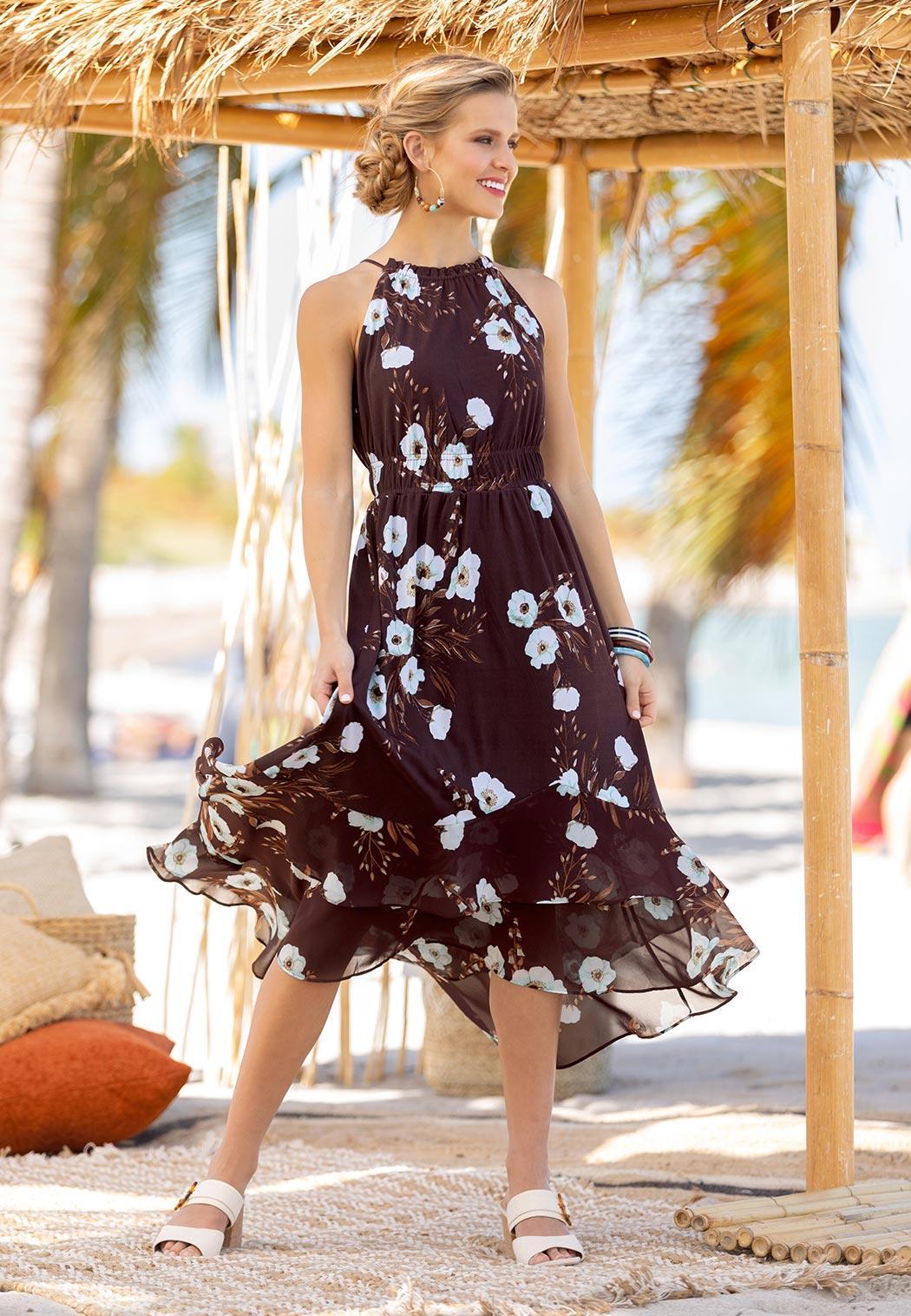 Plus Size Floral Ruffle Halter Midi Dress (Item #44243929)