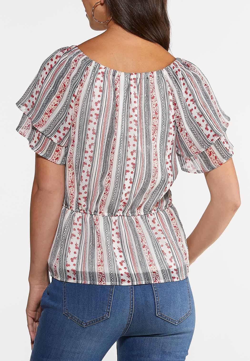Plus Size Ruffled Garden Stripe Top (Item #44245067)