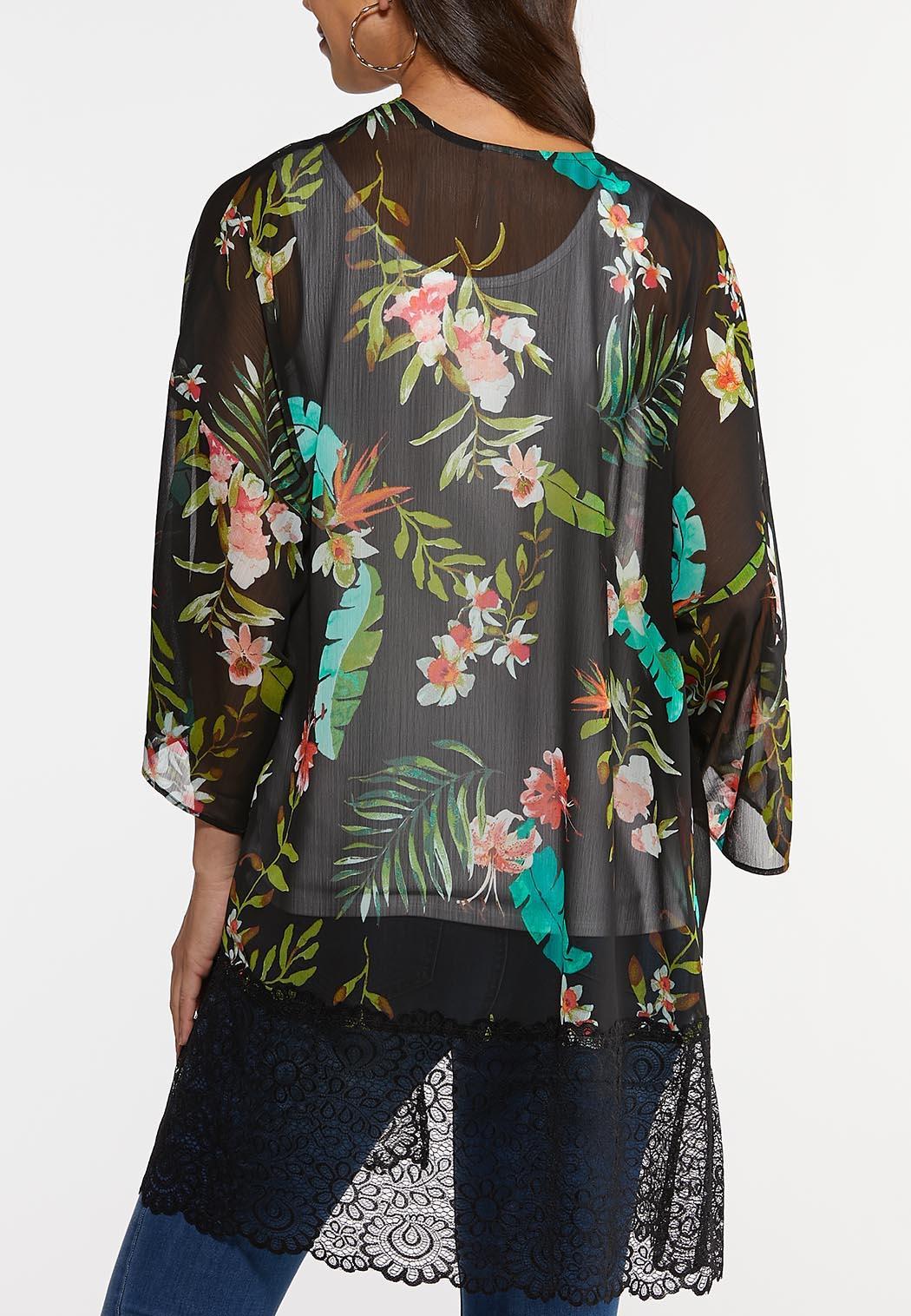 Plus Size Island Floral Lace Kimono (Item #44245224)