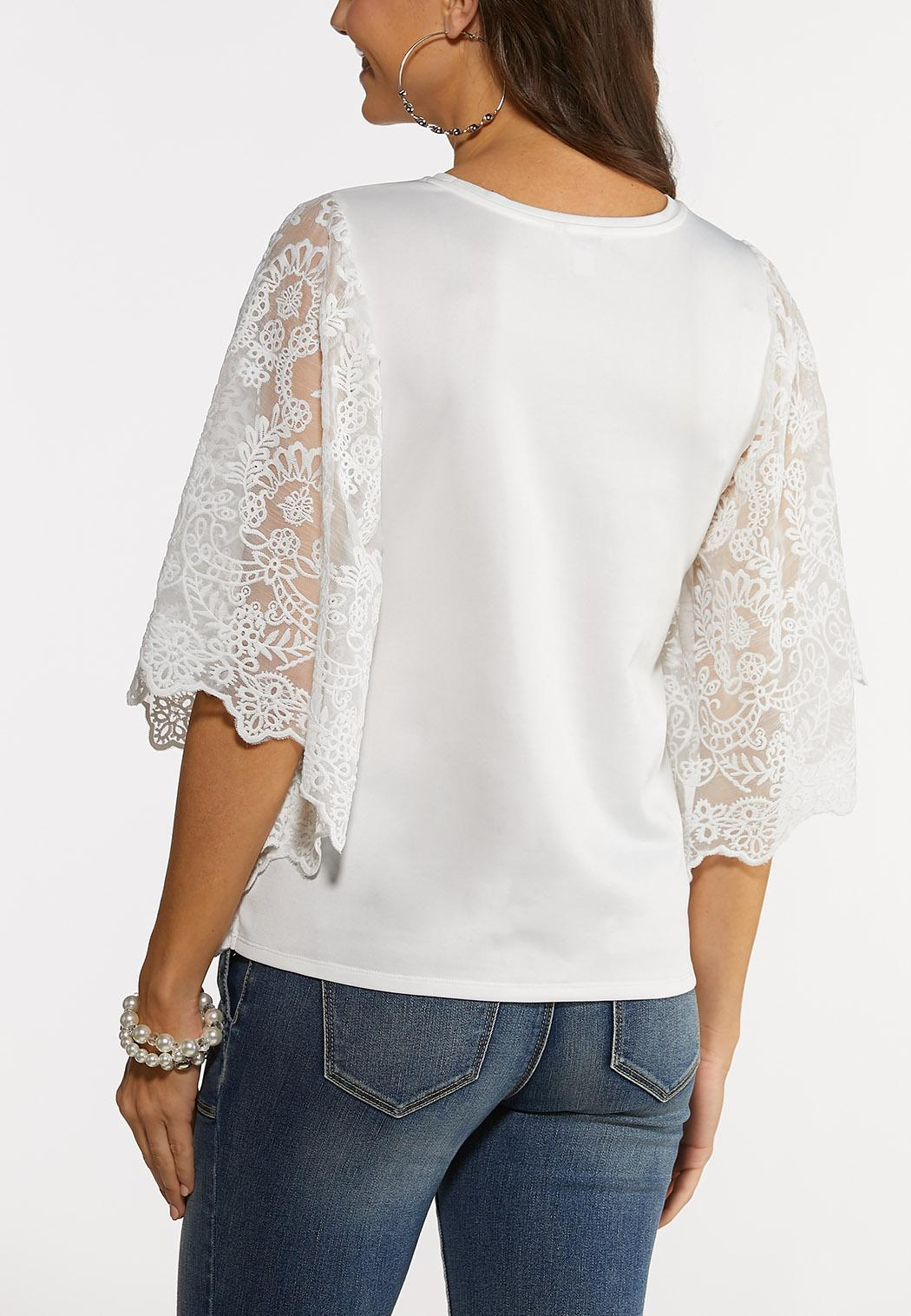 Plus Size Lace Wing Sleeve Top (Item #44245466)
