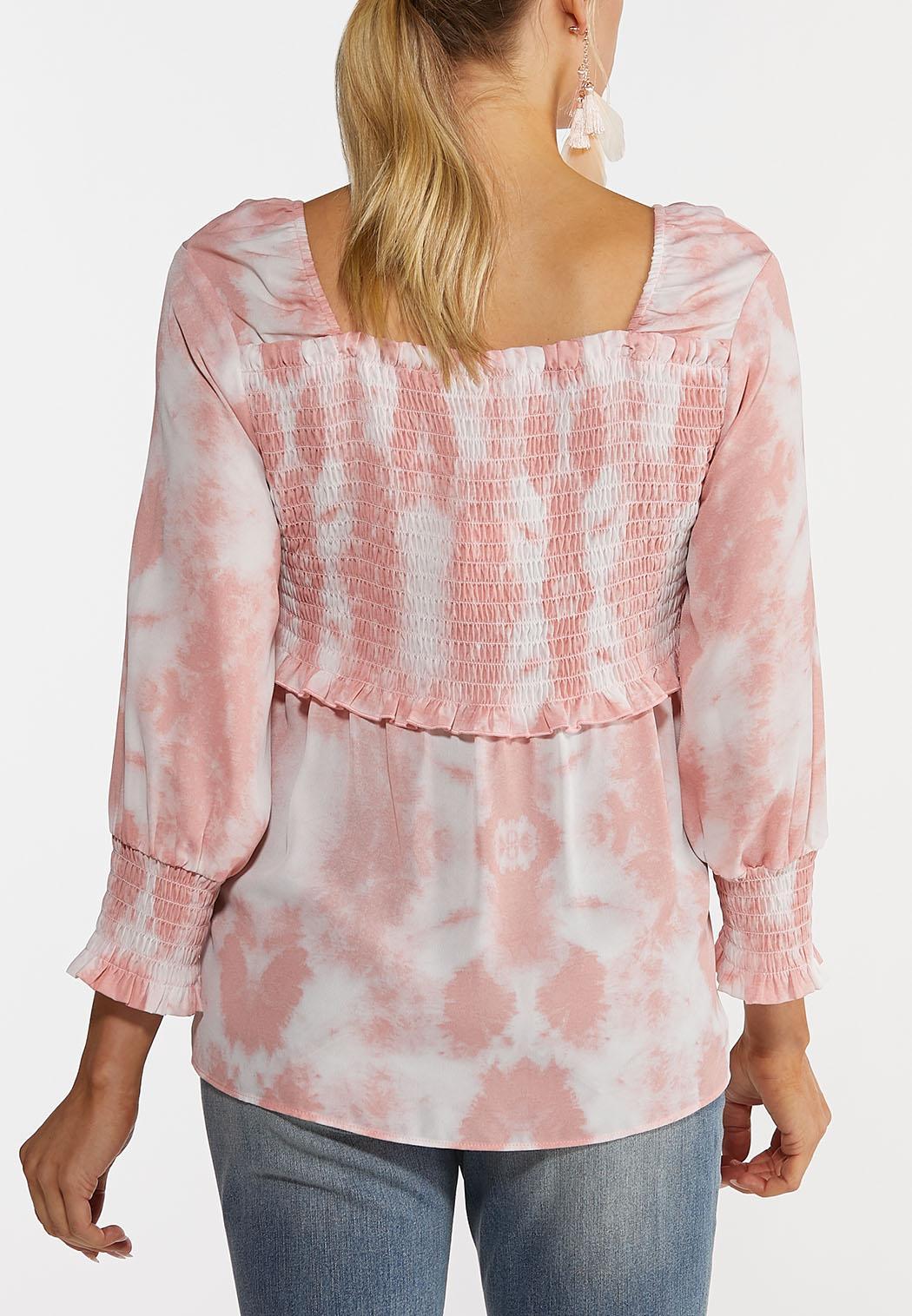 Pink Tie Dye Smocked Top (Item #44245907)