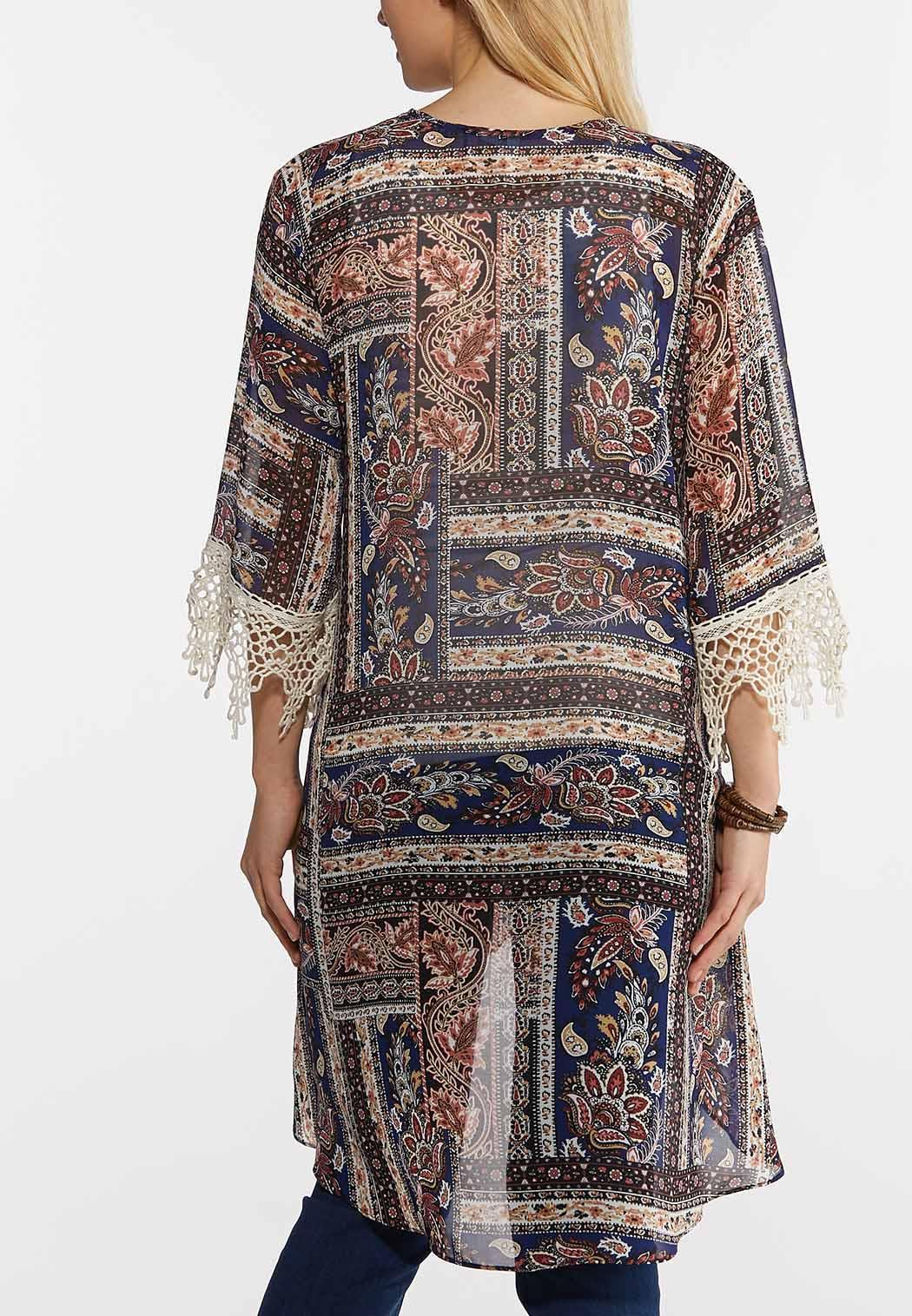 Plus Size Navy Paisley High-Low Kimono (Item #44246043)