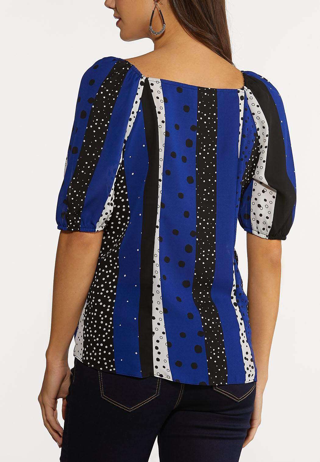 Plus Size Navy Dotted Stripe Top (Item #44246348)