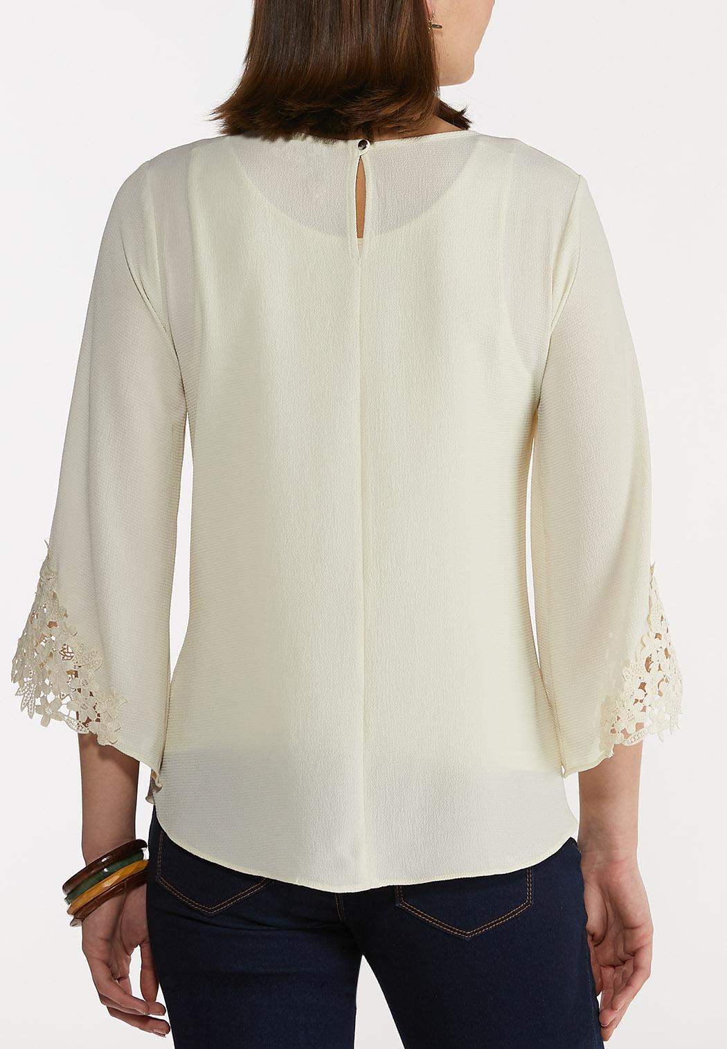 Crepe Floral Lace Trimmed Top (Item #44246441)