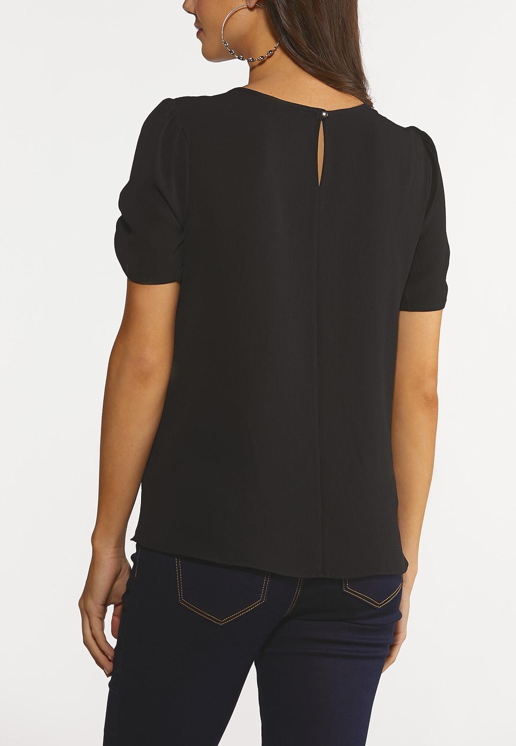Black Ruched Sleeve Top (Item #44246735)