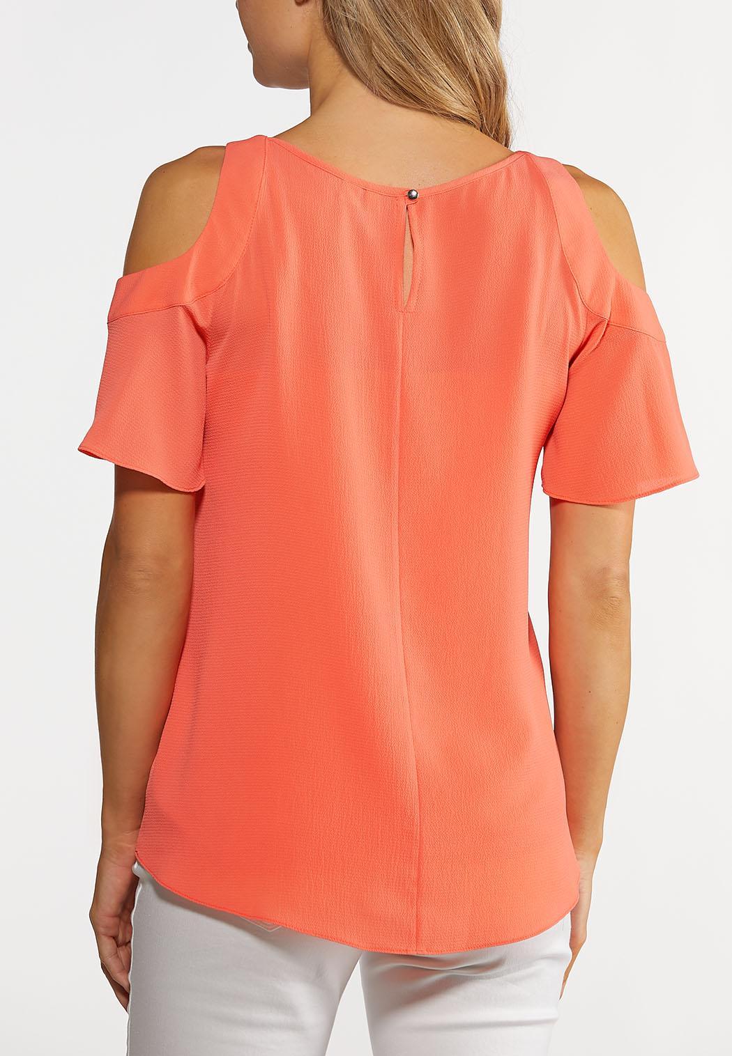 Plus Size Coral Cold Shoulder Top (Item #44246851)