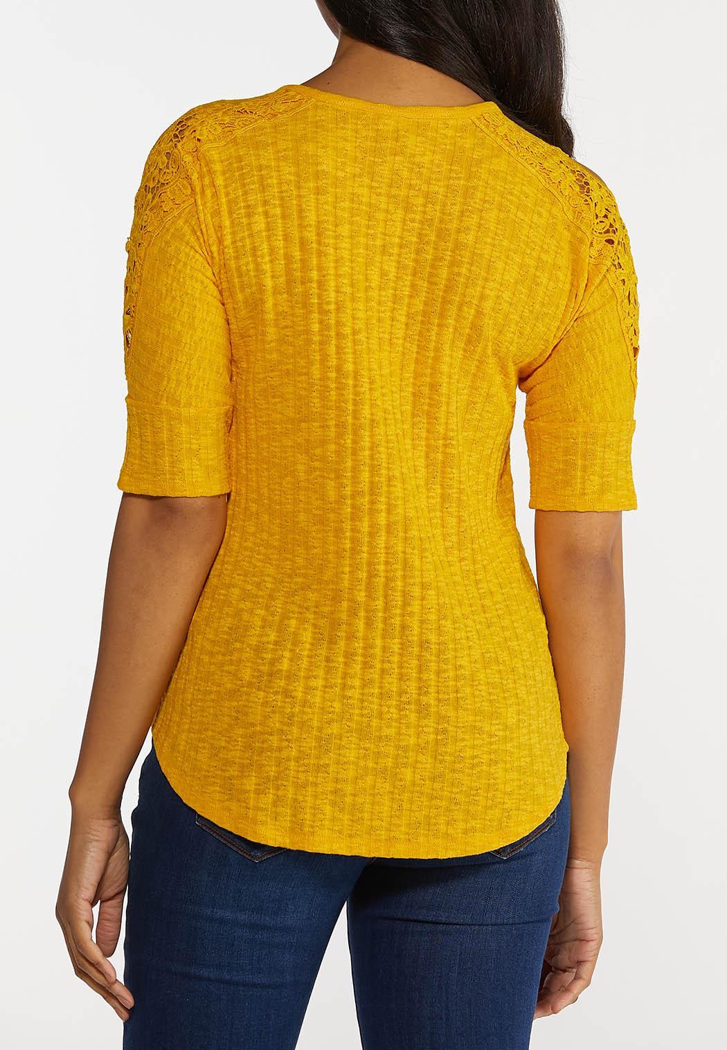 Plus Size Gold Lace Shoulder Top (Item #44247775)