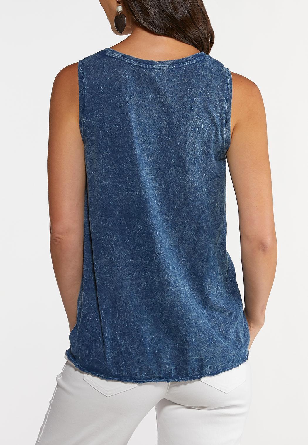 Vintage Blue Tie Hem Top (Item #44248217)