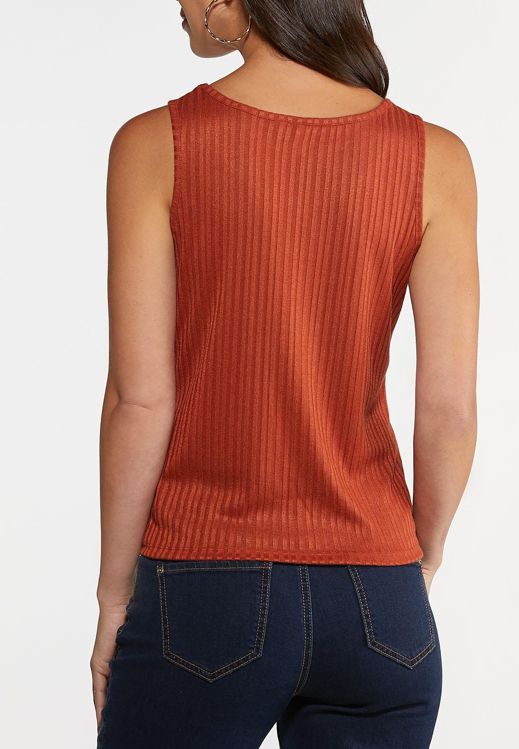 Button Front Ribbed Tank (Item #44248340)