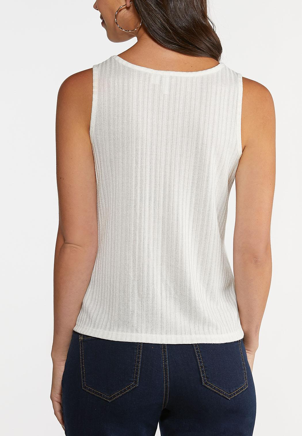 Plus Size Button Front Ribbed Tank (Item #44248385)