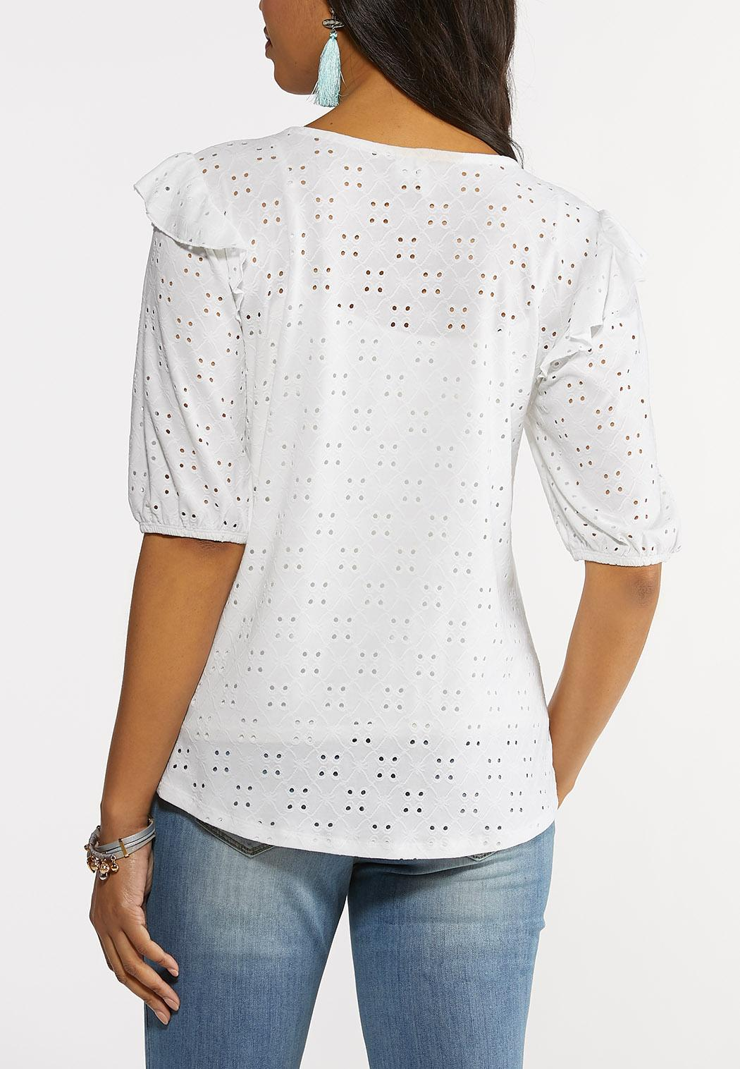 Plus Size Eyelet Balloon Sleeve Top (Item #44248625)