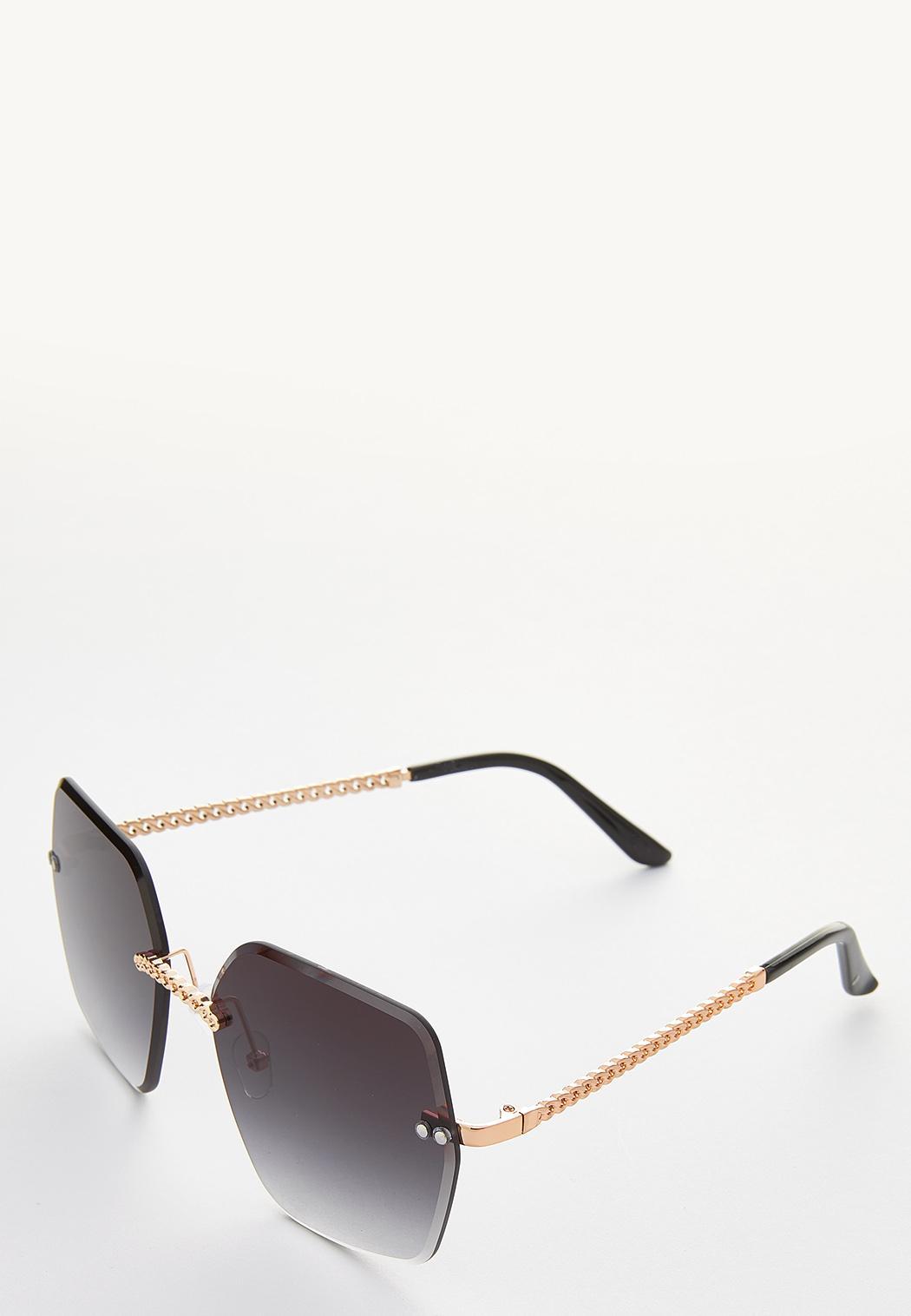 Chain Detail Rimless Sunglasses (Item #44248942)