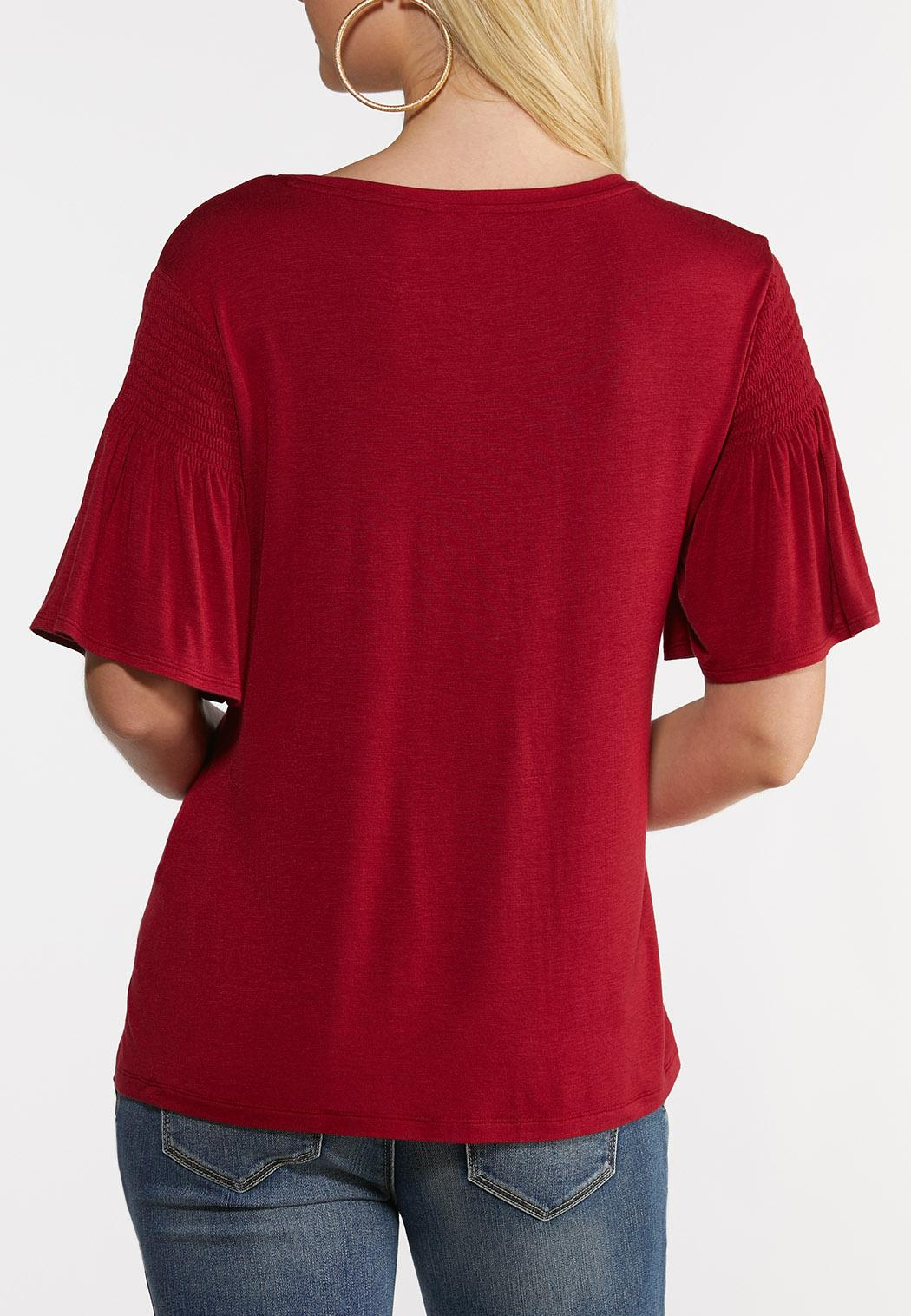 Solid Smocked Sleeve Top (Item #44249018)